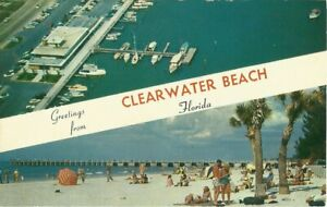 Greetings from CLEARWATER BEACH Florida Dual - View w/ Banner Vintage Postcard