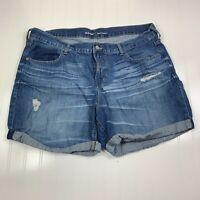 Old Navy Boyfriend Cut Off Denim Shorts Womens Size 16 Regular Blue Distressed