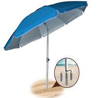AMMSUN New 6.5/7 Ft 8 Panels Sand Anchor Beach Umbrella w/ Silver Coating UPF50+