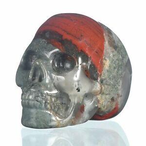 "1.57""Natural New Blood Jasper Carved Skull Metaphysic Healing Power #33O38"