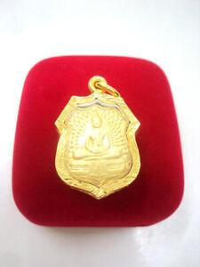 Phra Sothorn Buddha 96.5% Gold Clad Case Pendant Holy Thai Buddhist Amulet