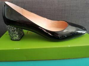 Kate Spade Serene patent black leather silver glitter block heel worn once w/box