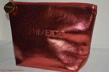 SHISEIDO Metallic Red Pouch Makeup Cosmetic Bag Gold zipper bucket Case New