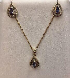 14K Yellow Gold Tanzanite and Diamond Pendant & Matching Earrings