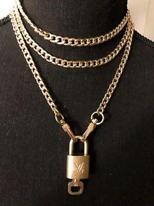Authentic LOUIS VUITTON Brass Padlock Plus FREE Necklace Chain (no Key)