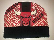 Rare Vintage 90s Official NBA Chicago Bulls All Over Print Beanie Hat Cap Jordan
