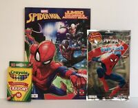 3 Kids Marvel Spiderman Jumbo Coloring & Activity Mazes Book, Play Pack, Crayons