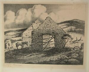 1930s WPA-ERA STOWELL SHERMAN LITHOGRAPH LIKELY OF NORTHERN NEW MEXICO