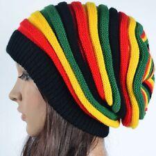 Jamaican Rasta Hat Slouchy Baggie Beanie Multi-colour Striped Knit Gorro reggae