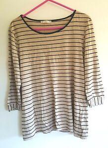 Ladies Beige & Black stripe top sz 12 by TARGET