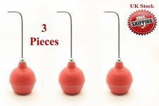 New Dental Use Chip Blower Syringe with Chrome Point & Red Rubber Bulb Set