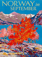 Norway in September Norwegian European Scandinavia Travel Advertisement Poster