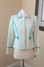 Nipon Boutique Cream White Blue Bow Patterned Blazer Jacket New Size 4P P4 NWT