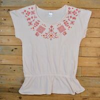 Women's Lovely Baby Pink Short Sleeve Nordic Embroidery T-Shirt Top UK Size 8 10