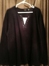 SPECULATION WOMAN Long SLEEVE  Knit TOP, Plum Color 2X  NWT