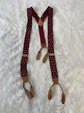 Vintage Style Thurston London Maroon White Polka Dot Suspenders Braces