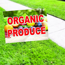 Organic Produce Farm Fresh Indoor Outdoor Coroplast Yard Sign With H Stake