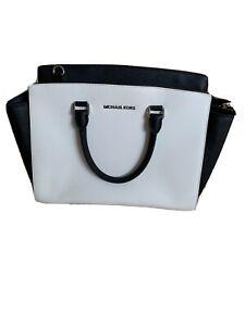 Michael Kors black & White Selma genuine leather handbag tote