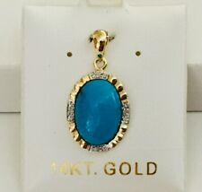NEW Solid 14K Yellow Gold Natural Turquoise & Diamonds Pendant For Necklace