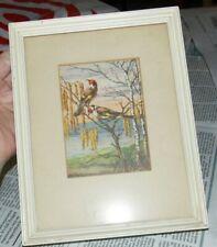 Vintage Ar Stutz Red White Black Pair Birds Tree Sunset Signed Framed Art Print