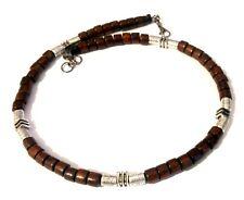 Men Necklace Thread Choker Wood Brown Beads Biker Rocker Tibetan Silver 4068