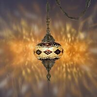 """Mosaic Lamp,15 feet chain chandelier hanging on the ceiling.(6.5""""amber Globe)"""