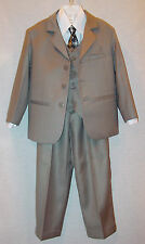 LITO BOYS GRAY 5 PIECE SUIT INCLUDES JACKET PANTS VEST SHIRT & TIE SIZE 6 NEW