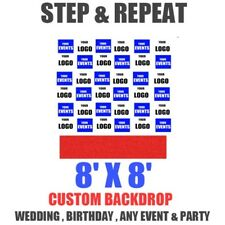 8x8 Ft CUSTOM Step Repeat Backdrop Banner Printing Full Color FABRIC (NO STAND)