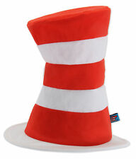 Dr Seuss Cat In The Hat Adult Red & White Striped Costume Tricot Hat By Elope