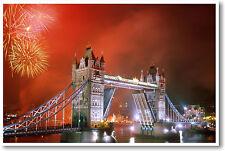 London Bridge, England at night - NEW British Travel Art Print POSTER
