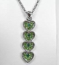 NEU 40cm+5,5cm HALSKETTE Herz SWAROVSKI STEINE peridot/emerald/grün COLLIER