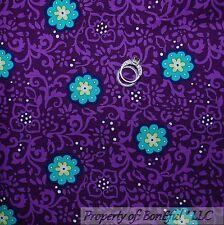 BonEful Fabric FQ Cotton Quilt Purple Aqua White S Flower Dot Toile Damask Swirl