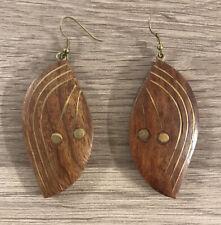 Wooden Dangly Almond Shape Earrings with Brass Tone Detail. Ethnic Tribal Boho