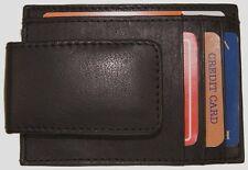 Mens Leather Money Clip Slim Front Pocket Magnetic ID Credit Card Wallet Black