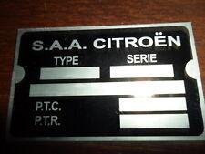 ID nameplate Citroen AZU duck 2CV 2 CV DS GS AMI Dyane 11 CV s1
