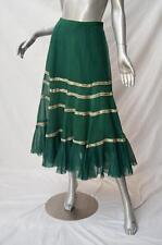 EASTON PEARSON Long Green Bead Embellished Boho Peasant Gypsy Maxi Skirt 10