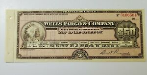 Early 1900's Wells Fargo $50.00 Travelers Check Unused W Native American Indian