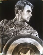 """Captain America Marvel ART CHARCOAL DRAWING 8X10"""""""
