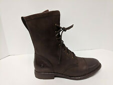 Born Neon Lace-Up Combat Boots, Brown Leather, Womens 7.5 M