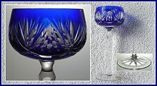 COBALT BLUE Wine Glass Goblet Hock CUT TO CLEAR CRYSTAL Silesia Bavaria GERMANY