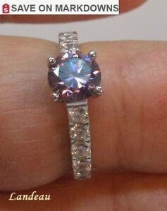 1 ct Pink Diamond With Sapphires Silver Ring *