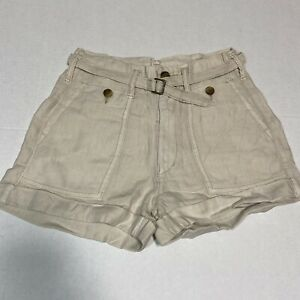 American Eagle Linen Blend Belted Shorts Beige Mid Rise Cuffed Size 0 NWT