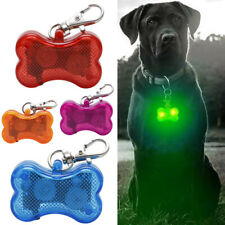 Light Up Dog Tag LED Collar Pet Puppy Flashing See Dark Bone Night Pendant Charm