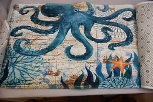 3-Piece Mediterranean Sea Life Octopus  Bathroom Mat Set NEW