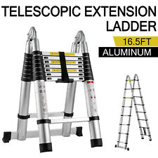 16.5Ft Folding Ladder Aluminum Telescopic Extension Steps Multi-Use Non-Slip 5m