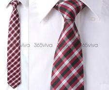 Dark Red White Black Plaid Checker Handmade 100% Woven Silk 8 cm nch Neck Tie