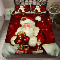 Great Happy Father Christmas 3D Quilt Duvet Doona Cover Set Pillow case Print