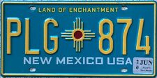 GENUINE New Mexico Turquoise USA Licence License Number Plate Tag PLG 874