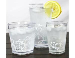 4 Corelle BOUTIQUE CHERISH Acrylic DRINKWARE Beverage Glasses 19, 14 or 8-oz NEW