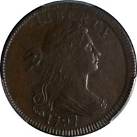 1797 Large Cent Rev of 1797 Stems PCGS AU50 Nice Eye Appeal